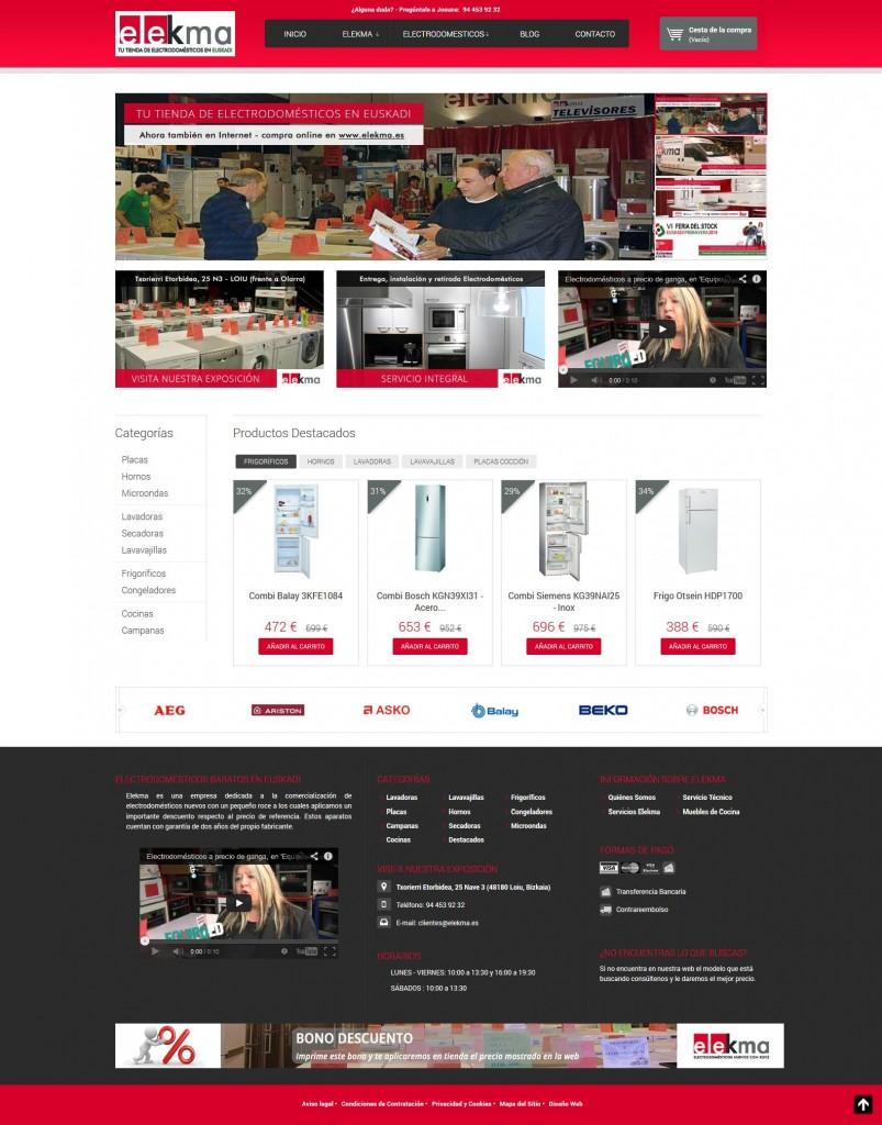 Pantallazo Site de Elekma - Tienda Online de Electrodomésticos Baratos en Euskadi