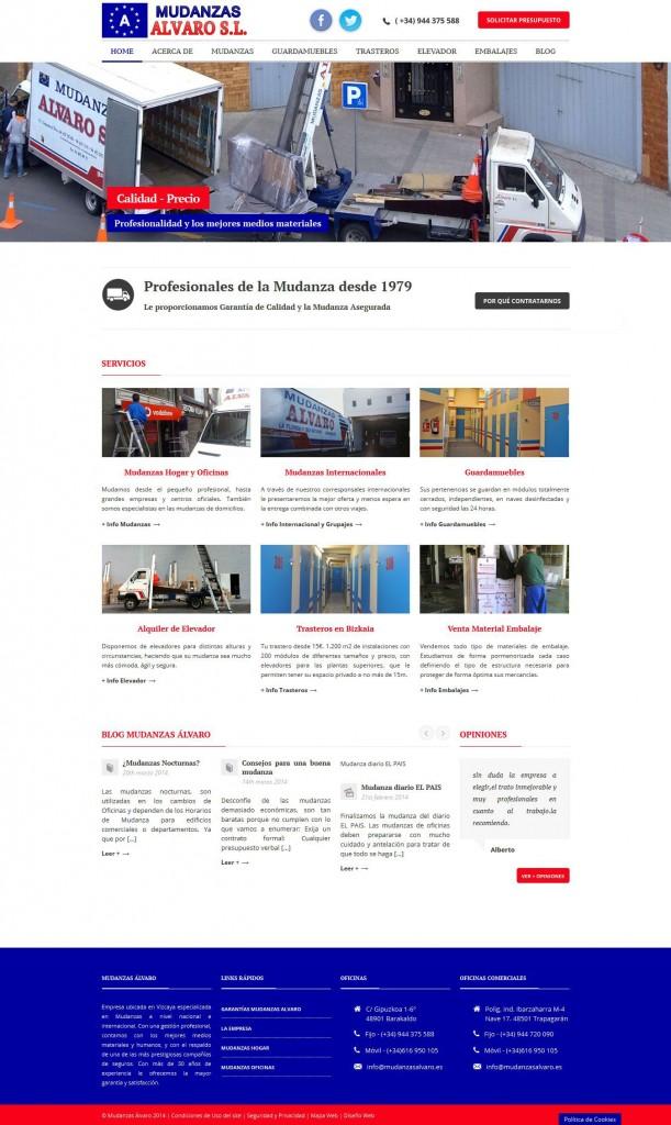 Pantallazo Site de MudanzasAlvaro – Profesionales de la Mudanza en Bizkaia