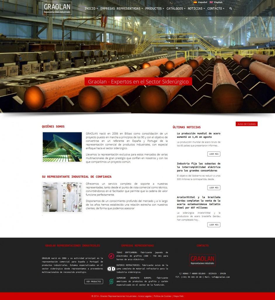 Graolan - diseño web de la empresa especializada en representaciones industriales del sector siderúrgico