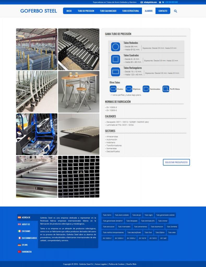 Diseño de la ficha de gama de producto de Goferbo Steel