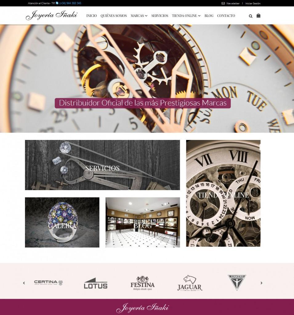 Diseño de la home de la nueva web y tienda online de Joyería Iñaki