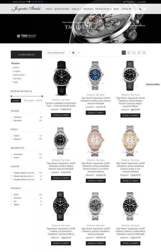Diseño de la página de Presentación de Producto de la Marca Tag Heuer en la tienda online de Joyería Iñaki